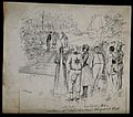 Commedia dell'arte figures at a masquerade ball. Pen and ink Wellcome V0049542.jpg