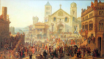 Beginning of the Republic of Metz. Election of the first Head-Alderman in 1289, by Auguste Migette. Metz was then a free imperial city of the Holy Roman Emperor. Commencement republique messine Auguste Migette 1862.jpg