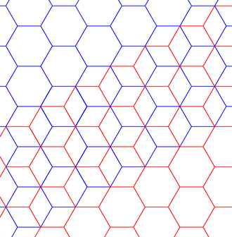 Rhombille tiling - Two hexagonal tilings with red and blue edges within rhombille tiling