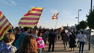 2017 Catalan general strike - Image: Concentració al pont lo Passador