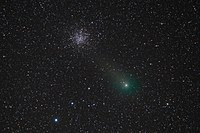 """Conjunction of comet Garradd and globular cluster Messier 71 - View through an 11"""" SCT at 1500mm - Starfest 2011 in Mount Forest, Ontario.jpg"""