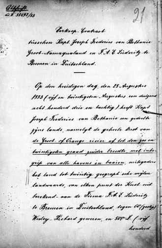 Adolf Lüderitz - Image: Contract Frederiks Vogelsang 1883 p 1