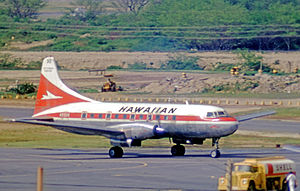 Hawaiian Airlines - Convair 640 turboprop airliner of Hawaiian at Honolulu in 1971. The airline operated Convairs from 1952 until 1974