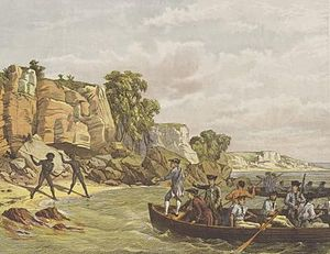 Isaac Smith (Royal Navy officer) - Isaac Smith (second from left in boat, in red coat) preparing to step ashore in Botany Bay, April 1770.