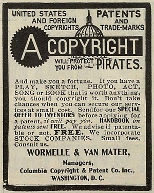 English: Copyright advertisement from the New ...