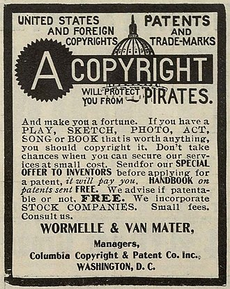 Copyright infringement - An advertisement for copyright and patent preparation services from 1906, when copyright registration formalities were still required in the US