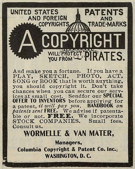 An advertisement for copyright and patent preparation services from 1906, when copyright registration formalities were still required in the US Copyrightpirates.jpg