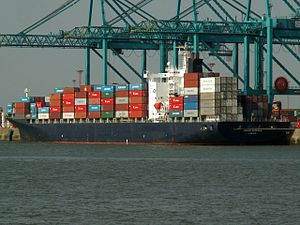 Cosco Norfolk IMO 9064841, at the Amazone harbour, Port of Rotterdam, Holland 12-Oct-2005.jpg