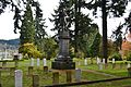 Covell Statue and Civil War Graves, Pioneer Cemetery (Eugene, Oregon).jpg
