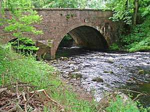 Cowie Water - Cowie Water, looking downstream at the A957 road bridge.
