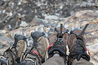 Crampons for walking on the glacier (5465231467).jpg