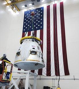 Капсула Crew Dragon перед испытанием на прерывание полёта космического корабля