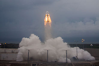 "Launch escape system - A Dragon V2 undergoing a Pad Abort test on May 6, 2015, demonstrating a ""pusher"" LAS."