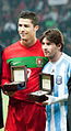 Cristiano Ronaldo and Lionel Messi - Portugal vs Argentina, 9th February 2011 (2).jpg