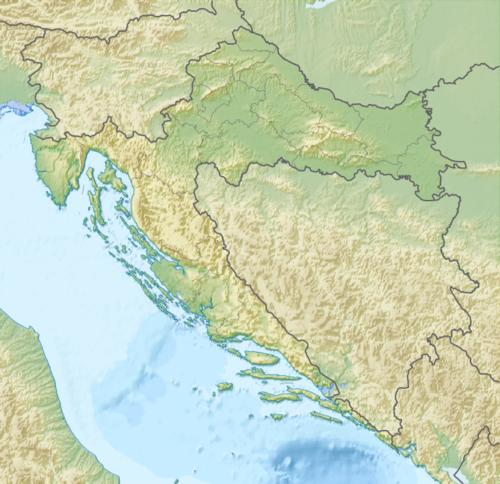 Mapo de la Kroatio kun loko de Prosvjeta lokaj subkomisionoj elstarigita