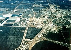 Crookston, Minnesota - Aerial view of Crookston, Minnesota, with the Red Lake River twisting through the town
