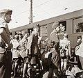 Cserkészek állnak a Kelenföldi pályaudvaron, 1939. Fortepan 92367.jpg