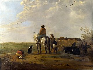 A Landscape with Horseman, Herders and Cattle