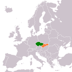 Map indicating locations of Czech Republic and Slovakia