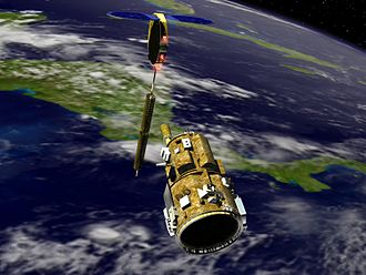 DART (satellite) - Artistic impression of NASA's DART spacecraft (below) approaching MUBLCOM (above) while orbiting over the eastern Pacific near Central America