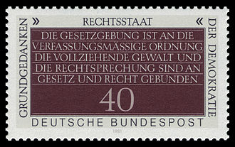 """Rechtsstaat - German stamp (1981). Rechtsstaat, Fundamental Concept of Democracy - """"The legislature is bound by the constitutional order, the executive and the judiciary by law and right."""" (Article 20(3) GG)"""