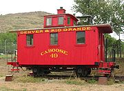 "A 4-wheel ""bobber"" cupola caboose at the Colorado Railroad Museum, Golden, Colorado."