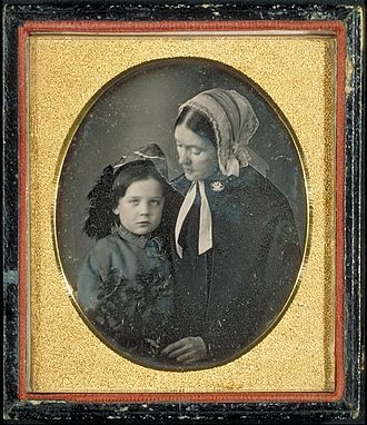 Ralph Waldo Emerson - Daguerreotype of Lidian Jackson Emerson and her son Edward Waldo Emerson, circa 1850