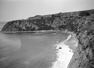 Dana Point, California - The headlands and pier at Dana Point, ca. 1925, prior to construction of the harbor
