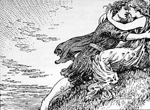 Svipdagsmál - Svipdagr meets his beloved in this illustration by W. G. Collingwood.