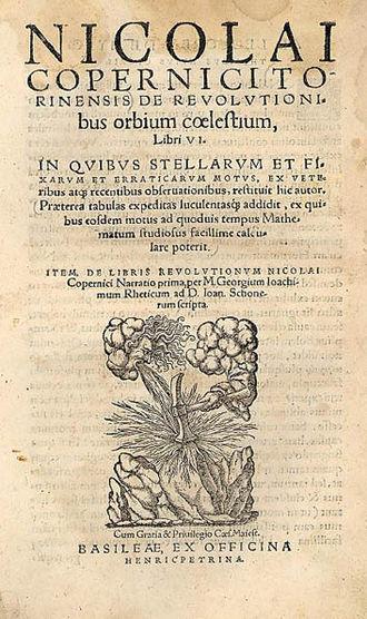 De revolutionibus orbium coelestium - Title page, 2nd edition, Basel, Officina Henricpetrina, 1566