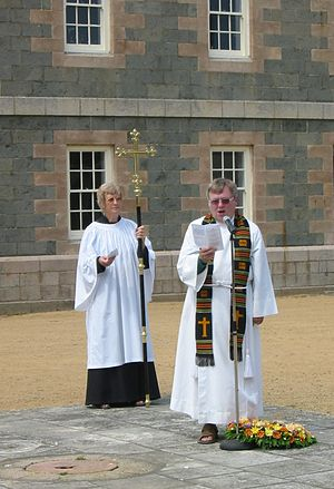 Dean of Jersey - The Dean of Jersey, Bob Key, leading the service at Elizabeth Castle during the annual Saint Helier Day pilgrimage, 2007