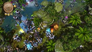 Tower defense - A screenshot of Defenders of Ardania showing the genre's characteristic towers, as well as units and a castle that serves as an end point