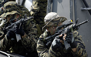 Naval Special Operations Group - A Filipino Navy SEAL team demonstrates their capabilities to the 74th Joint Civilian Orientation Conference in Manila, Nov. 8, 2007