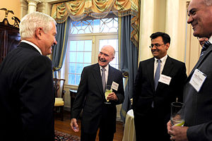 Karan Bhatia - Defense Secretary Robert M. Gates shares a laugh with retired Air Force Lt. Gen. Brent Scowcroft, center, and Karan Bhatia, second from right, during the George C. Marshall Foundation Award presentation at the State Department in Washington, D.C., Oct. 16, 2009.