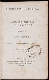 <i>Democracy in America</i> classic French text by Alexis de Tocqueville