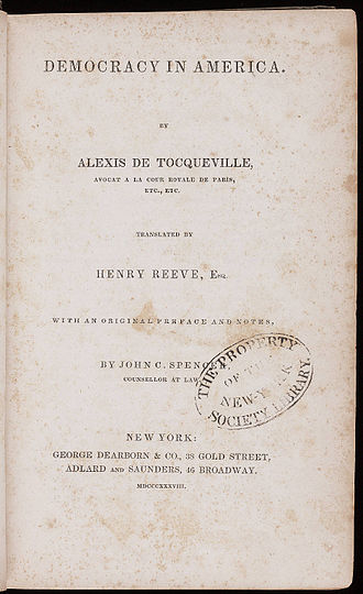 Democracy in America - Title page of Democracy in America by Alexis de Tocqueville, printed at New York, 1838