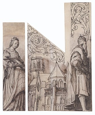 Basel Minster - Design for organ shutters for Basel Minster by Hans Holbein the Younger, c. 1525–26.  Holbein includes a view of the cathedral between its founders Kunigunde and Henry II.