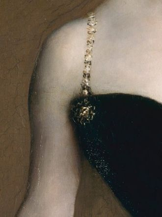 Saponification - Detail of Madame X (Madame Pierre Gautreau), John Singer Sargent, 1884, showing saponification in the black dress.