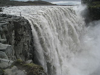Dettifoss - Dettifoss, seen from the east (a person next to the fall provides scale)