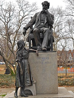 Dickens and Little Nell statue in Philadelphia, Pennsylvania Dickens and Nell Philly.JPG