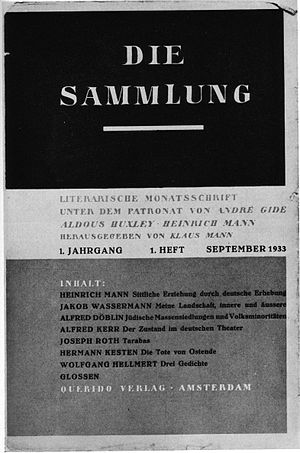 Die Sammlung - First cover of Die Sammlung. September 1933.