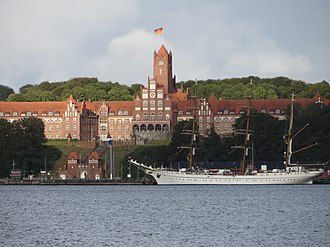 Training ship - The second Gorch Fock in front of the Naval Academy Mürwik (Red Castle) in 2015
