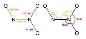 Dinitrogen trioxide - Image: Dinitrogen trioxide 2D geometry
