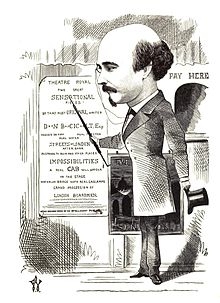 "Caricature of balding-crowned man with small moustache and imperial, gesturing at poster on which word ""Sensational"" appears"
