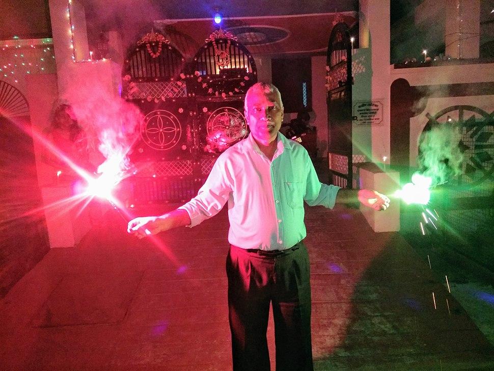 Diwali celebrating by a man