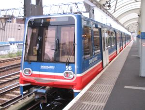 DLR Train at Tower Gateway Station, London, UK
