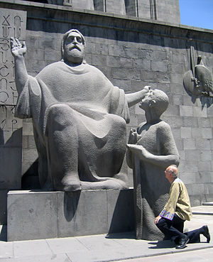Donald Knuth - Image: Donald Knuth in front of statue St. Mesrop Mashtots (inventor of the Armenian, Georgian and Caucasian Albanian alphabets in the 4th century), Matenadaran, Yerevan, Armenia, June 2006, LA