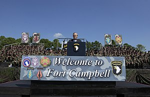 Donald Rumsfeld addressing 101st Airborne troops at Fort Campbell with bleachers in background Defense.gov News Photo 040914-F-5586B-005.jpg
