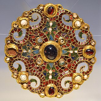 Carolingian Empire - The Dorestad Brooch, Carolingian-style cloisonné jewelry from c. 800. Found in the Netherlands, 1969.