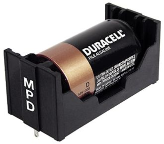 Battery holder - Duracell alkaline battery in holder with pressure contacts